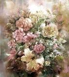 Blumenstrauß des mehrfarbigen Blumenaquarellmalstils Stock Abbildung