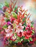 Blumenstrauß des mehrfarbigen Blumenaquarellmalstils Lizenzfreie Abbildung