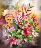 Blumenstrauß des mehrfarbigen Blumenaquarellmalstils Vektor Abbildung