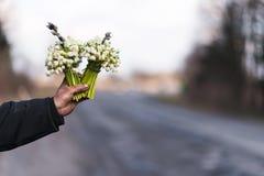 Blumenstrauß des Schneeglöckchens in der Hand verlängerte vorwärts, auf der Seite der Straße Stockfoto
