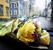 Blumenstrauß an einem regnerischen Tag lizenzfreies stockbild