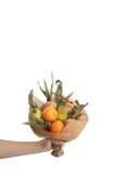 Blumenstrauß färbt Handfrüchte vegatables Hintergrundbank Lizenzfreies Stockfoto