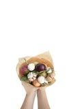 Blumenstrauß färbt Handfrüchte vegatables Hintergrundbank Stockbilder