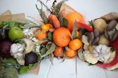 Blumenstrauß färbt Handfrüchte vegatables Hintergrundbank Lizenzfreie Stockbilder
