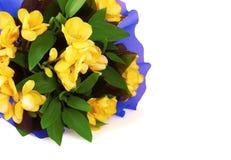 Blumenstrauß gelber fresia Blume Stockfotos