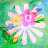 Blumenstrauß, Gras und Wellensittiche. lizenzfreie abbildung