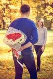 Blumenstrauß hinter Rückseite stockfotografie