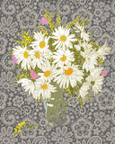 Blumenstrauß Kamille und Spitze lizenzfreie abbildung