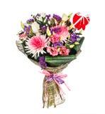 Blumenstrauß mit Chrysanthemen, lillies und Rosen Lizenzfreie Stockfotos
