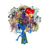 Blumenstrauß mit Iris und Lilien Lizenzfreie Stockbilder