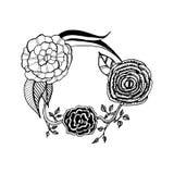 Blumenstrauß mit Rosen und Butterblumeen stockfoto