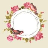 Blumenstrauß mit Rosen und Vogel, Weinlese-Karte Stockbilder