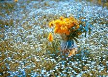 Blumenstrauß mit Vergissmeinnicht und Löwenzahn Lizenzfreie Stockfotografie