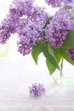 Blumenstrauß oder purpurrote Flieder steht im Vase des grünen Glases und kleiner Blütenstand liegt auf Flachstischdecke lizenzfreie stockfotografie