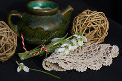 Blumenstrauß und Tee Lizenzfreie Stockfotos