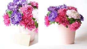 Blumenstrauß von Astern in einem dekorativen Eimer Lizenzfreie Stockbilder