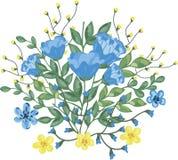 Blumenstrauß von blauen und gelben Blumen Stockbild