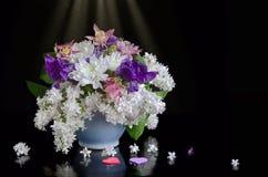 Blumenstrauß von Blumen auf einem schwarzen Hintergrund Lizenzfreies Stockfoto
