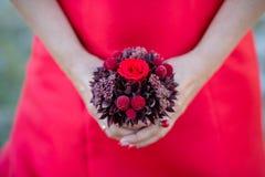 Blumenstrauß von Blumen in den Händen eines Mädchens stockfotos