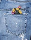 Blumenstrauß von Blumen in der Gesäßtasche von Blue Jeans lizenzfreie stockfotografie