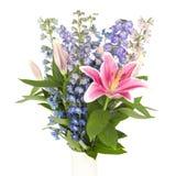 Blumenstrauß von Blumen im quadratischen Rahmen Stockbild