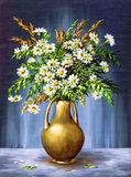 Blumenstrauß von Camomiles in Clay Vase Stockfoto