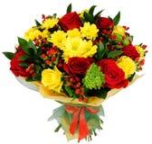 Blumenstrauß von Chrysanthemen und von Rotrose stockbild