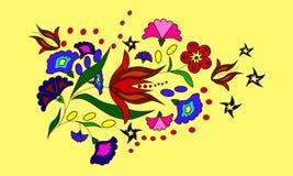 Blumenstrauß von dekorativen Blumen auf gelbem Hintergrund Lizenzfreie Stockbilder