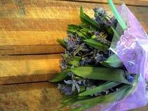 Blumenstrauß von den ersten Frühlingsblumen von leichten Schneeglöckchen Lizenzfreie Stockfotos