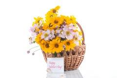Blumenstrauß von den gelben großen Gänseblümchen lokalisiert auf Weiß Lizenzfreies Stockfoto