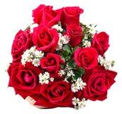 Blumenstrauß von den roten Rosen lokalisiert auf dem weißen Hintergrund Lizenzfreie Stockfotos