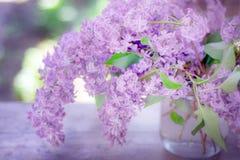 Blumenstrauß von Fliedern in einem Vase Lizenzfreie Stockfotos