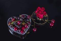 Blumenstrauß von Gartennelken und von süßer Kirsche Lizenzfreie Stockbilder