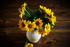 Blumenstrauß von gelben großen Gänseblümchen auf einem Schwarzen Stockfotos