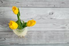 Blumenstrauß von gelben Tulpen Lizenzfreies Stockfoto
