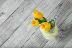 Blumenstrauß von gelben Tulpen Lizenzfreie Stockfotografie