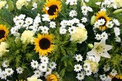 Blumenstrauß von gelben, weißen Blumen Stockfotos