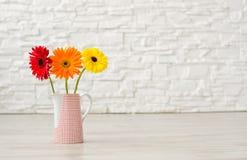 Blumenstrauß von Gerbera drei in einem Vase auf dem Boden auf einem backgrou Stockfoto