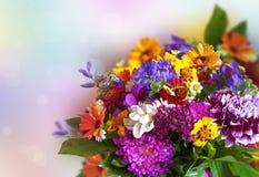 Blumenstrauß von hellen bunten Blumen Stockfoto