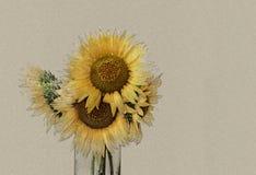 Blumenstrauß von hellen Sonnenblumen im Vase Lizenzfreie Stockfotos