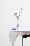 Blumenstrauß von Iris im Vase auf Tabelle Stockfotografie