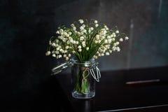 Blumenstrau? von Maigl?ckchen, dunkler Hintergrund stockbilder