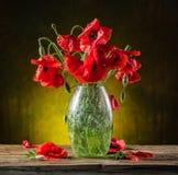 Blumenstrauß von Mohnblumenblumen im Vase Lizenzfreie Stockbilder