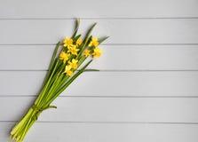Blumenstrauß von Narzissen auf grauem Hintergrund Romantische minimalistic Frühlingszusammensetzung, Draufsicht, flache Lage stockbild