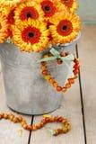 Blumenstrauß von orange Gerberagänseblümchen im silbernen Eimer auf hölzernem Vorsprung Stockfotos