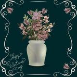 Blumenstrauß von Pastellmohnblumen im Vase auf Schwarzem weinlese Lizenzfreie Stockfotos