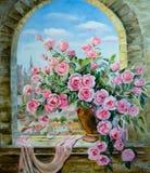 Blumenstrauß von Pfingstrosen am Fenster Stockfotografie