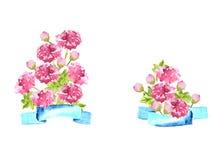 Blumenstrauß von Pfingstrosen mit blauem Band, dekorative Zusammensetzung des Aquarells Lizenzfreie Stockfotos