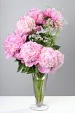 Blumenstrauß von rosa Pfingstrosen in einem Vase Lizenzfreie Stockfotos