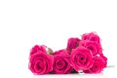 Blumenstrauß von rosa Plastikrosen, mit Leerstelle für addieren Text Lizenzfreies Stockfoto